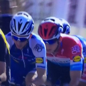 A rare shot of Bobby Jungels third wheel, and not leading the peloton